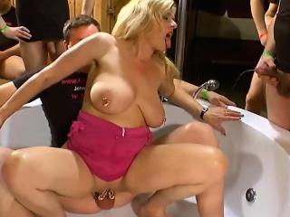 Horny babes banged hard in Euro bukkake