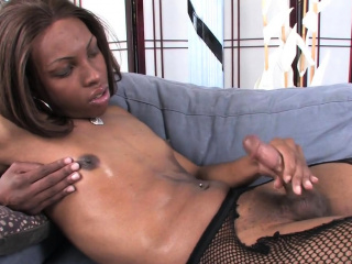 Solo trans chick tugs her ebony dick