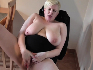 Blonde MILF strips and masturbates with passion