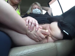 Fat mature lesbians having fun in the backseat taxi. A trip with orgasm for a busty milf.
