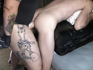 Tattooed Milf Gives Her Boi A Sound Pegging With A Large Strapon Dildo