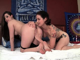 Lesbian beauties Belle and Muse love fingering each other!