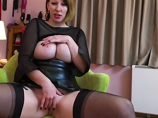 German Nylon Queen Anett Larman in stockings solo