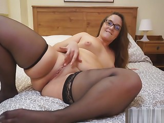 Curvy Milf In Sheer Black Stockings