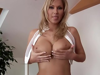 Big Tits Czech Babe Strips and Fucks Big Dildo