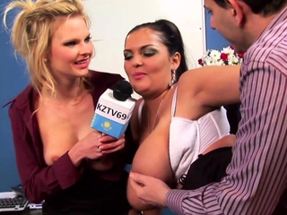 Three Horny Reporters Enjoy Group Sex