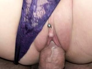 MILF orgasms with panties in pussy