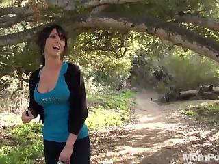 Milf sucks and fucks in the woods