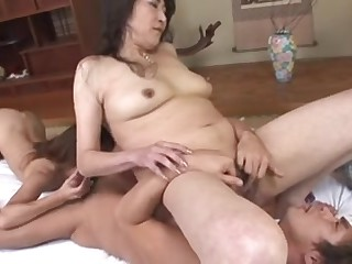 Curly Japanese Milfs drilled and creamed by a dude
