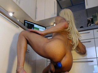 Sexy blonde shemale Mirela Abelha solo sex and cumshot