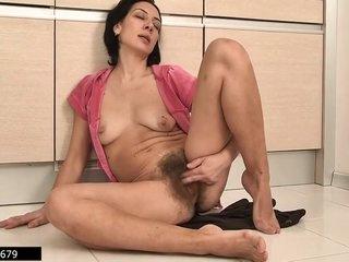 Latvian Housewife And Hairy Mommy Eva Masturbates 3, 3 Scenes