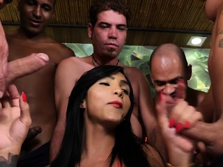 Big tits Latina shemale fucked in ass