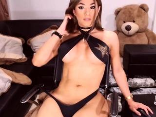 Big Tits Tranny Strokes her Big Cock