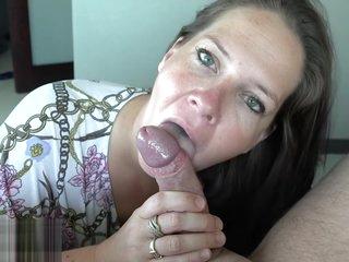 Busty Brunette MILF Blowjob and Creampie-4K