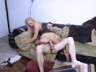 Horny MILF Michelle sucks and fucks an invisible hard cock