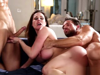 Busty milf cockriding in threeway
