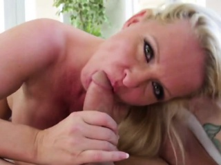 Curvy blonde step mommy giving head on couch