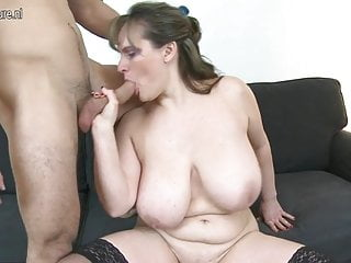 MOM with big saggy tits fucks young boy